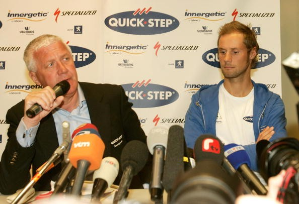 QuickStep boss Patrick Lefevere (L) and Tom Boonen in today's press conference.