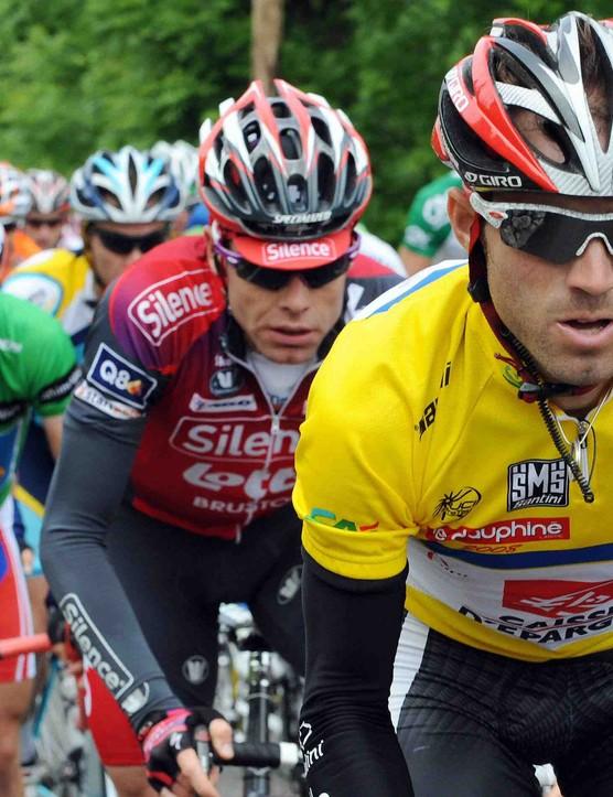 Alejandro Valverde (R) won the recent Dauphine Libere in front of Cadel Evans (C).