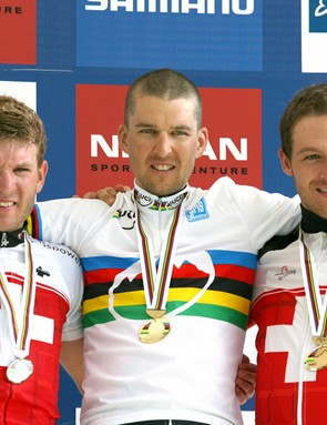 Christophe Sauser led a Swiss clean sweep of the podium at this year's mountain bike world championships