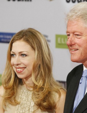 Former US President Bill Clinton and his daughter Chelsea in June 2008.