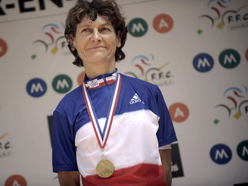 Jeannie Longo after winning the French time trial championship