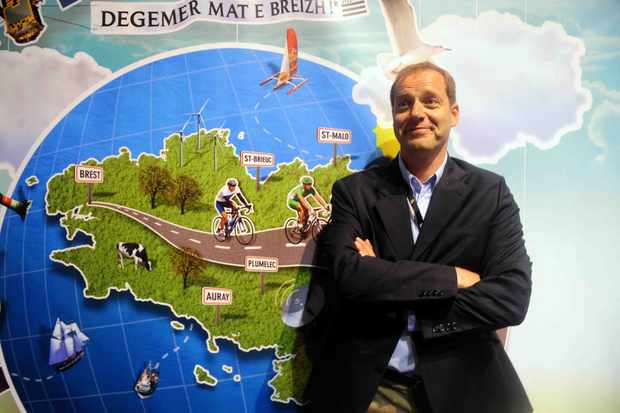 Tour chief Christian Prudhomme and his 'raiders of the lost cause' map.