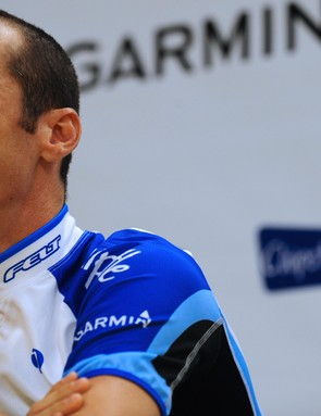 David Millar cracks a smile at the Team Garmin pre-Tour presentation
