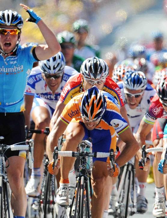 Surprised? Mark Cavendish beats Oscar Freire (C) and Erik Zabel Wednesday.