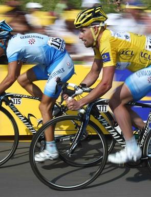 Gerolsteiner teammates Bernhard Kohl (L) and Stefan Schumacher, during the 2008 Tour de France.