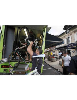 Team Liquigas packs up at the team hotel Friday afternoon.