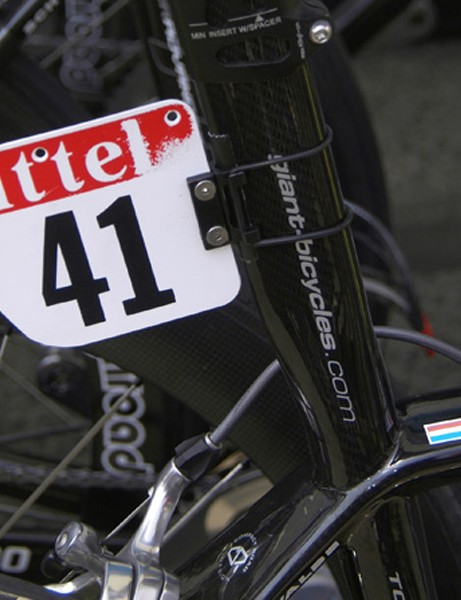 …while Team Columbia has its own little widgets mounted behind the seat tube.