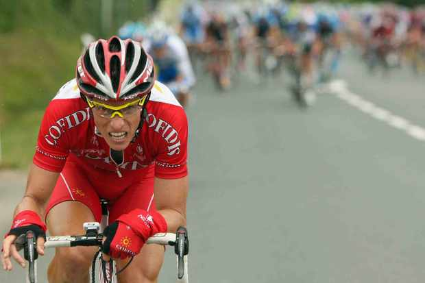 Cofidis rider Sylvain Chavanel attacks early during Stage 8.