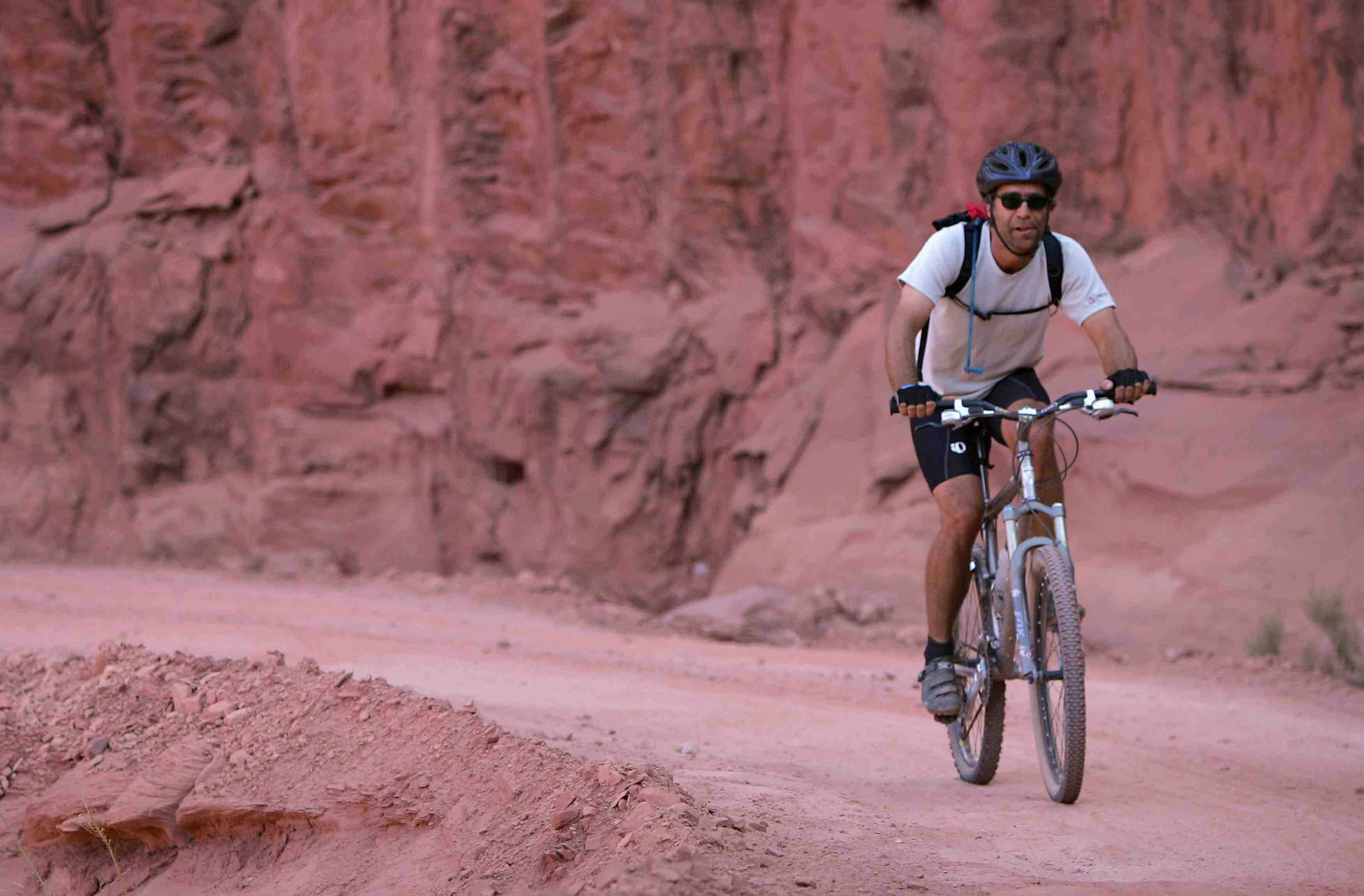 Butch Boucher of Steamboat Springs climbs away from the Green River to Horsethief Point while mountain biking the White Rim Trail on October 28, 2007 in Canyonlands National Park, Utah.