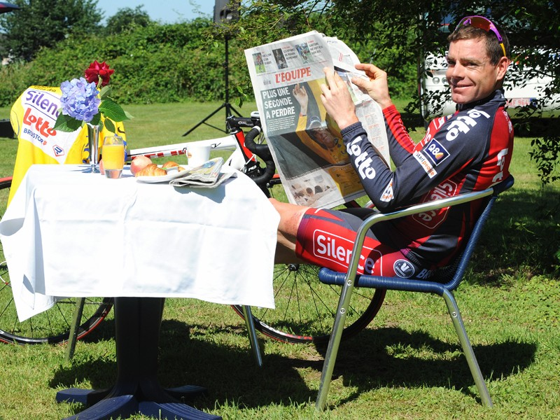 Cadel Evans was lapping it up as he found himself in the yellow jersey on the rest day