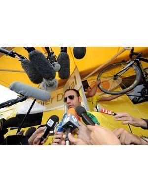 Saunier Duval Scott spokesman Pietro Algeri answers questions Thursday.