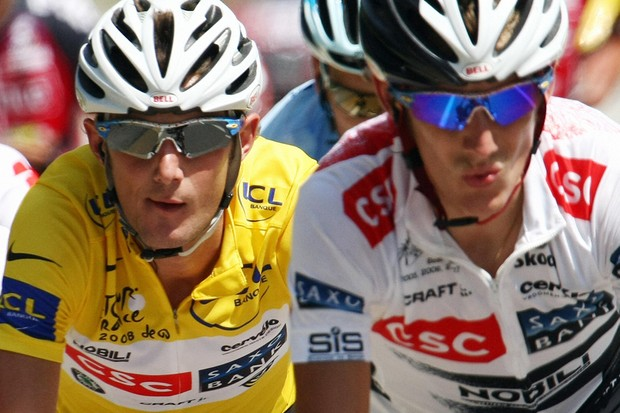 The Schleck brothers in action