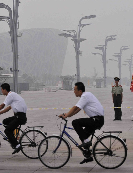 Beijing's notorious smog engulfs the Olympic National Stadium recently.