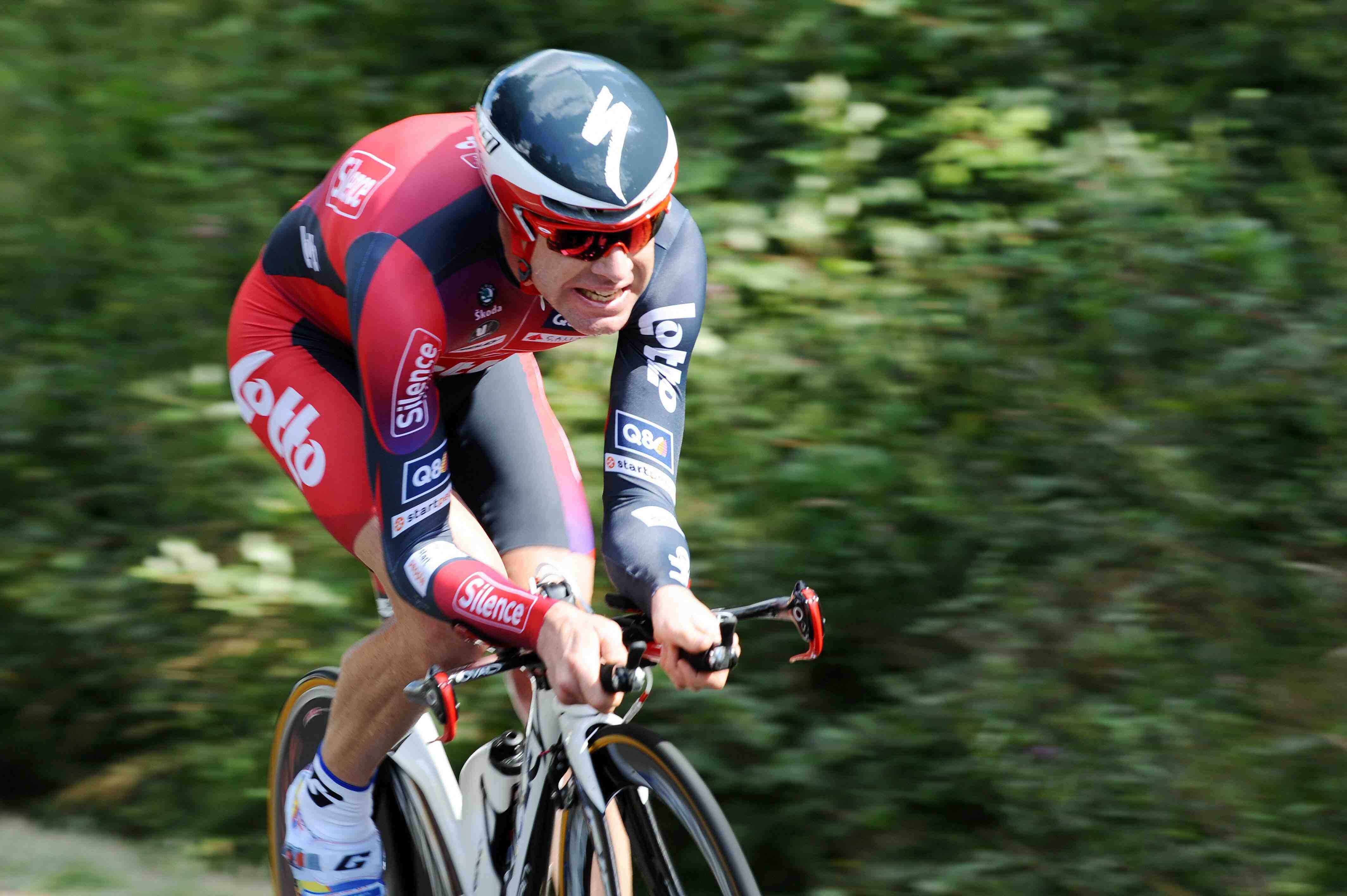 Silence-Lotto's Cadel Evans races in the Tour's final time trial July 26.