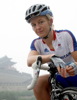 British team member Emma Pooley is already in Beijing getting familiar with the road race course.