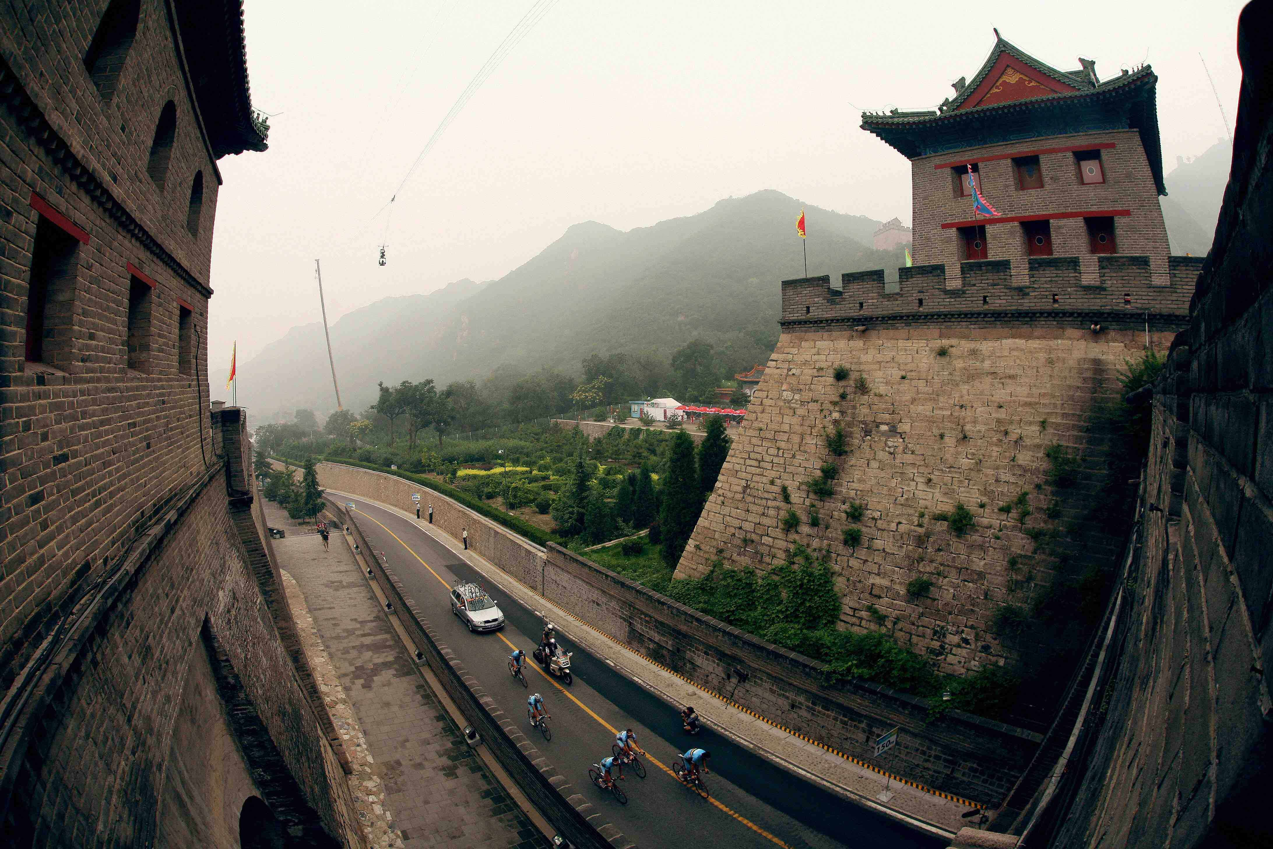 The Great Wall of China looms large over the road course.