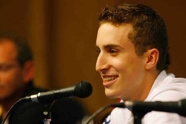 Taylor Phinney gives an interview at the Beijing Olympics.