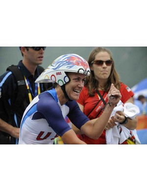 Kristin Armstrong realizes she's won the Beijing Olympic time trial.