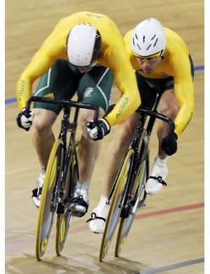 Australia's Mark French and Shane Kelly during qualifying in the team sprint