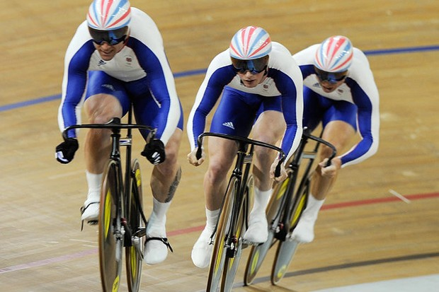 Sprinters including Jamie Staff, left, and Jason Kenny, centre, will take on the GB pursuit team in the Champions Versus Champions race at Manchester Velodrome