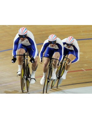 Jamie Staff leads Jason Kenny and Chris Hoy in Great Britain's record breaking ride in the team sprint qualifying