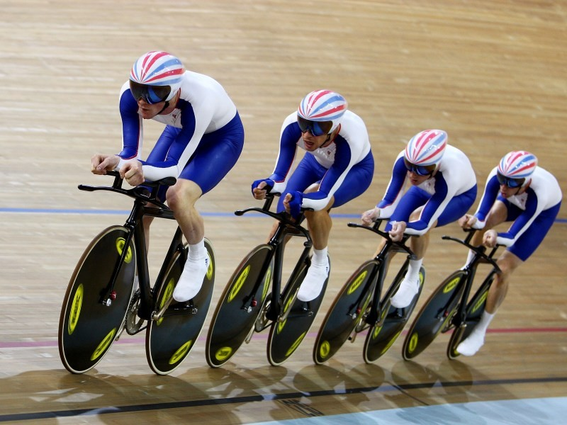 Paul Manning, Ed Clancy, Geraint Thomas and Bradley Wiggins of Great Britain compete in the men's team pursuit finals in Beijing