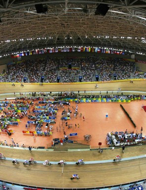 Wide angle view of the Laoshan Velodrome in Beijing.