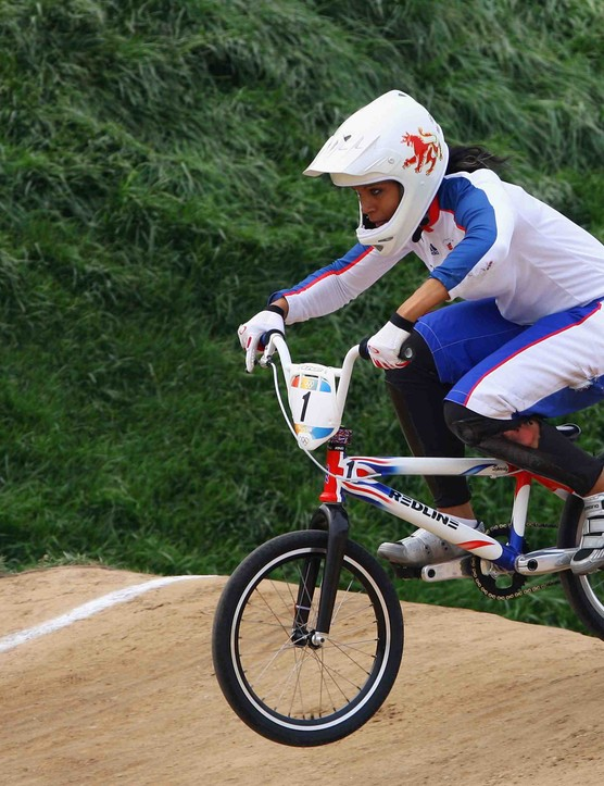 Britain's Shanaze Reade competes on Day 12 of the Beijing Olympics.