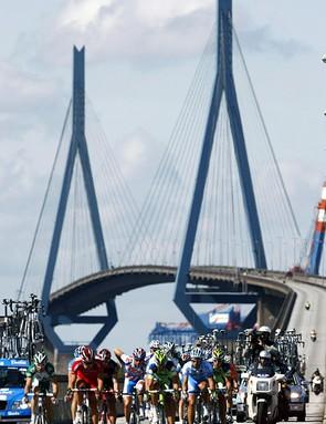 Riders cross the Koehlbrand Bridge during the Vattenfall Cyclassics in Hamburg