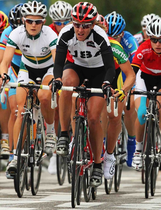 Nikki Egyed of Australia and Kristin Armstrong of the USA ride in the peloton in the Elite Women's Road Race during the 2008 UCI Road World Championships on September 27, 2008 in Varese, Italy.