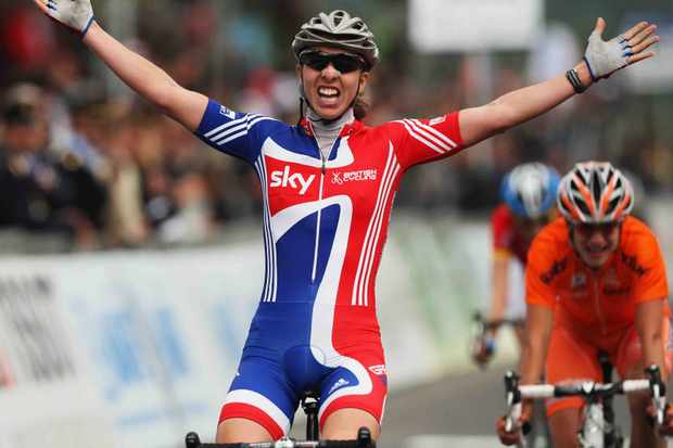 Nicole Cooke of Great Britain celebrates winning the Elite Women's Road Race during the 2008 UCI Road World Championships on September 27, 2008 in Varese, Italy.