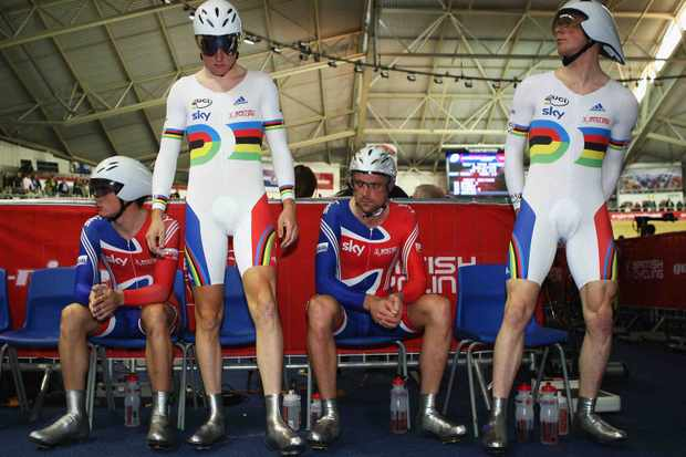 Steven Burke, Geraint Thomas, Rob Hayles and Ed Clancy prepare for the Men's Team Pursuit during day two of the UCI Cycling World Cup on November 1, 2008 in Manchester, England.