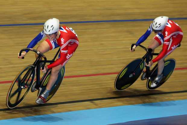 Anna Blyth and Jessica Varnish of Great Britain in action in the Women's Team Sprint race during day two of the UCI Cycling World Cup on November 1, 2008 in Manchester, England.