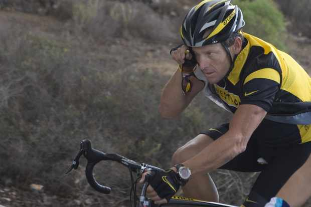 Lance Armstrong during a training session with the Astana team in San Isidro, Canary Island of Tenerife on December 1, 2008.