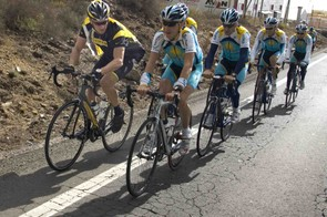 Livestrong-bedecked Lance Armstrong trains with his new Astana teammates December 1 on the in San Isidro, Canary Island of Tenerife near Spain.