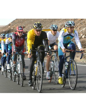 Lance Armstrong trains with his Astana teammates Thursday.