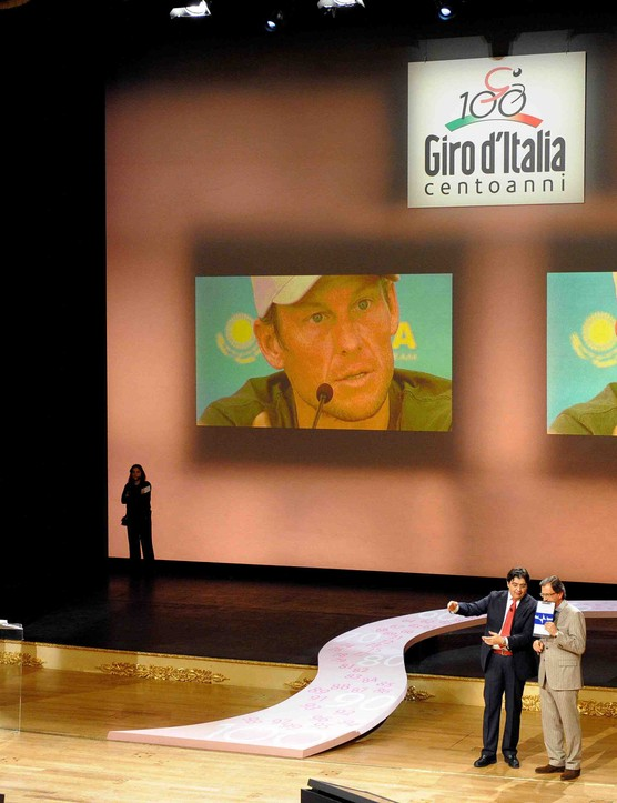 A Lance Armstrong video message played during the 2009 Giro d'Italia presentation December 13, 2008.
