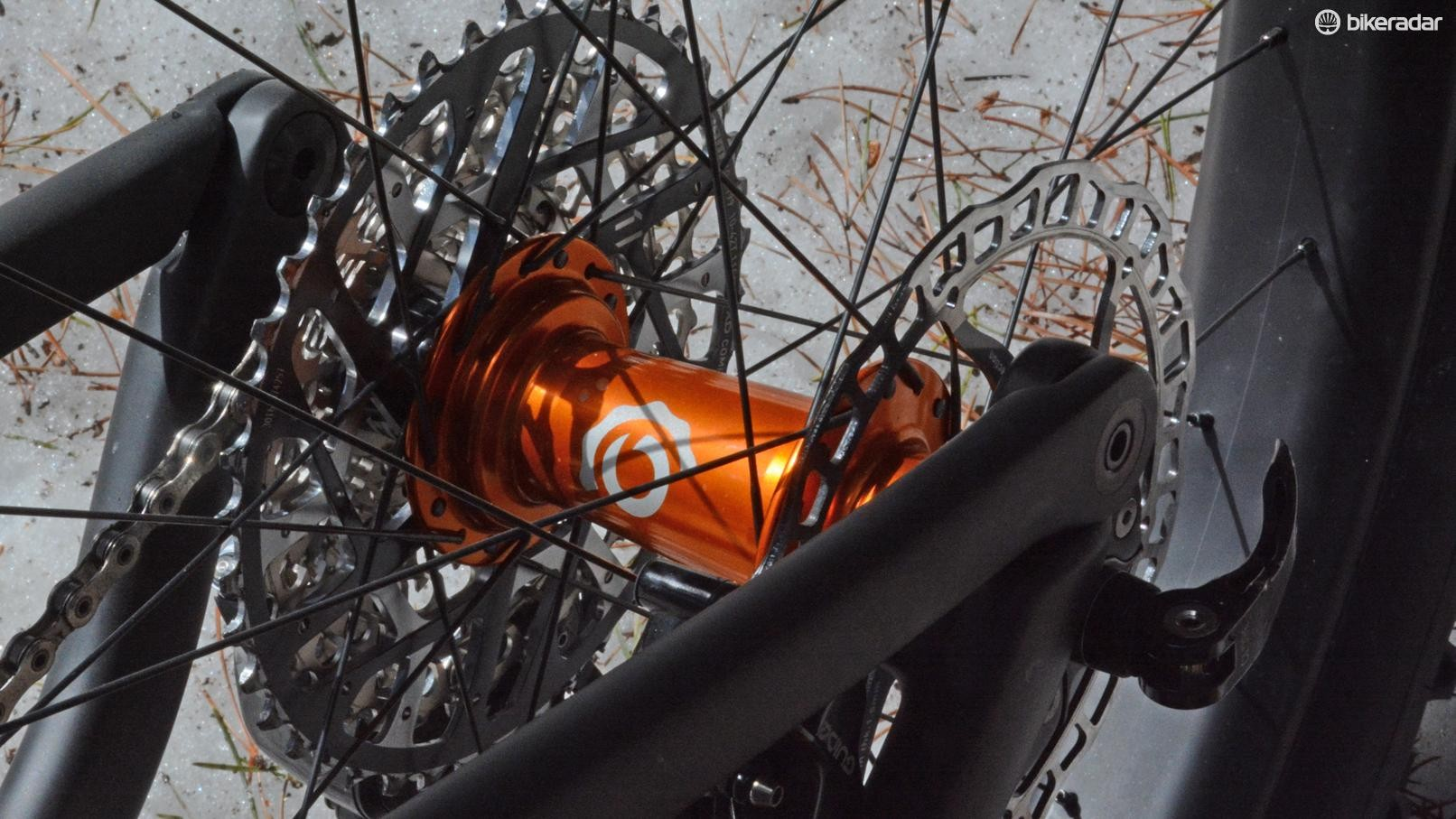 The wheelset was high end: Industry Nine hubs laced to LaMere 65mm wide carbon rims