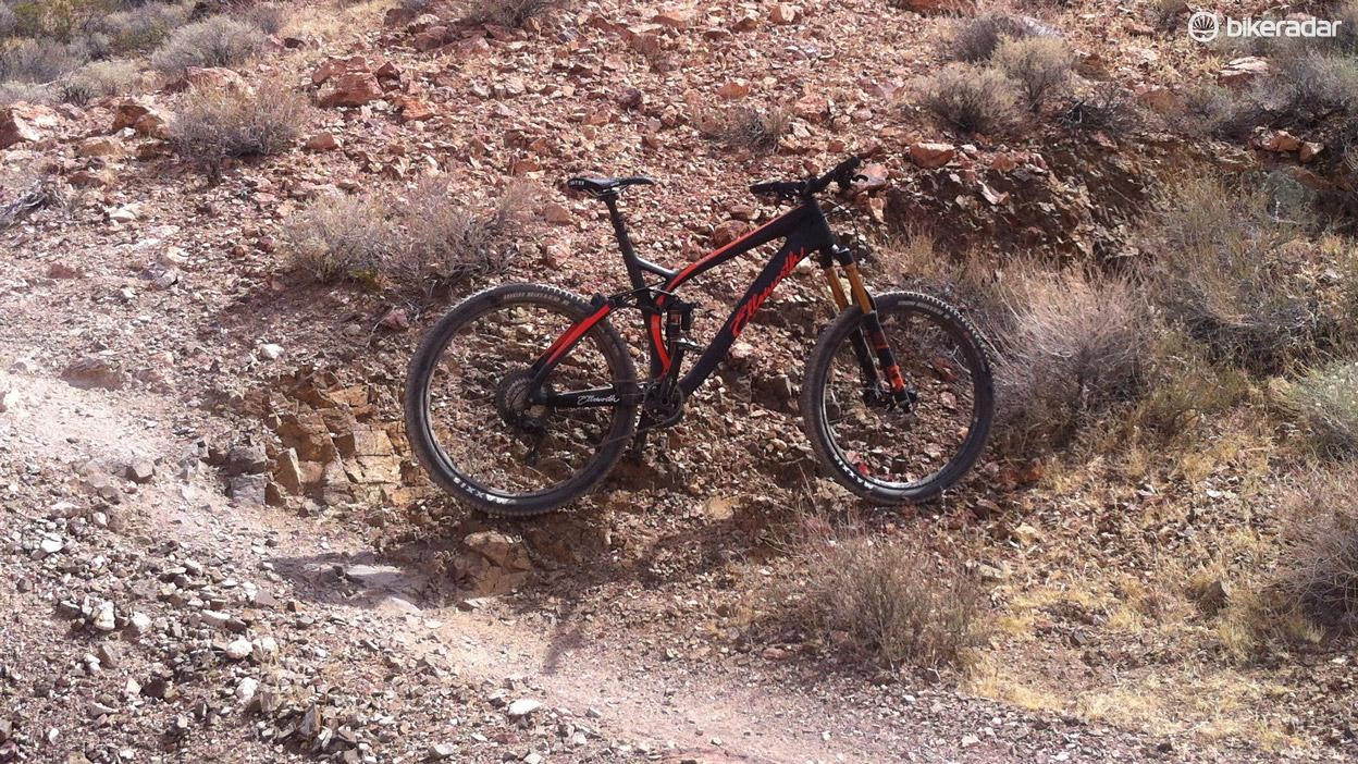 Boulder City's Bootleg Canyon served up plenty of jagged rocks, perfect testing grounds for a 160mm enduro bike