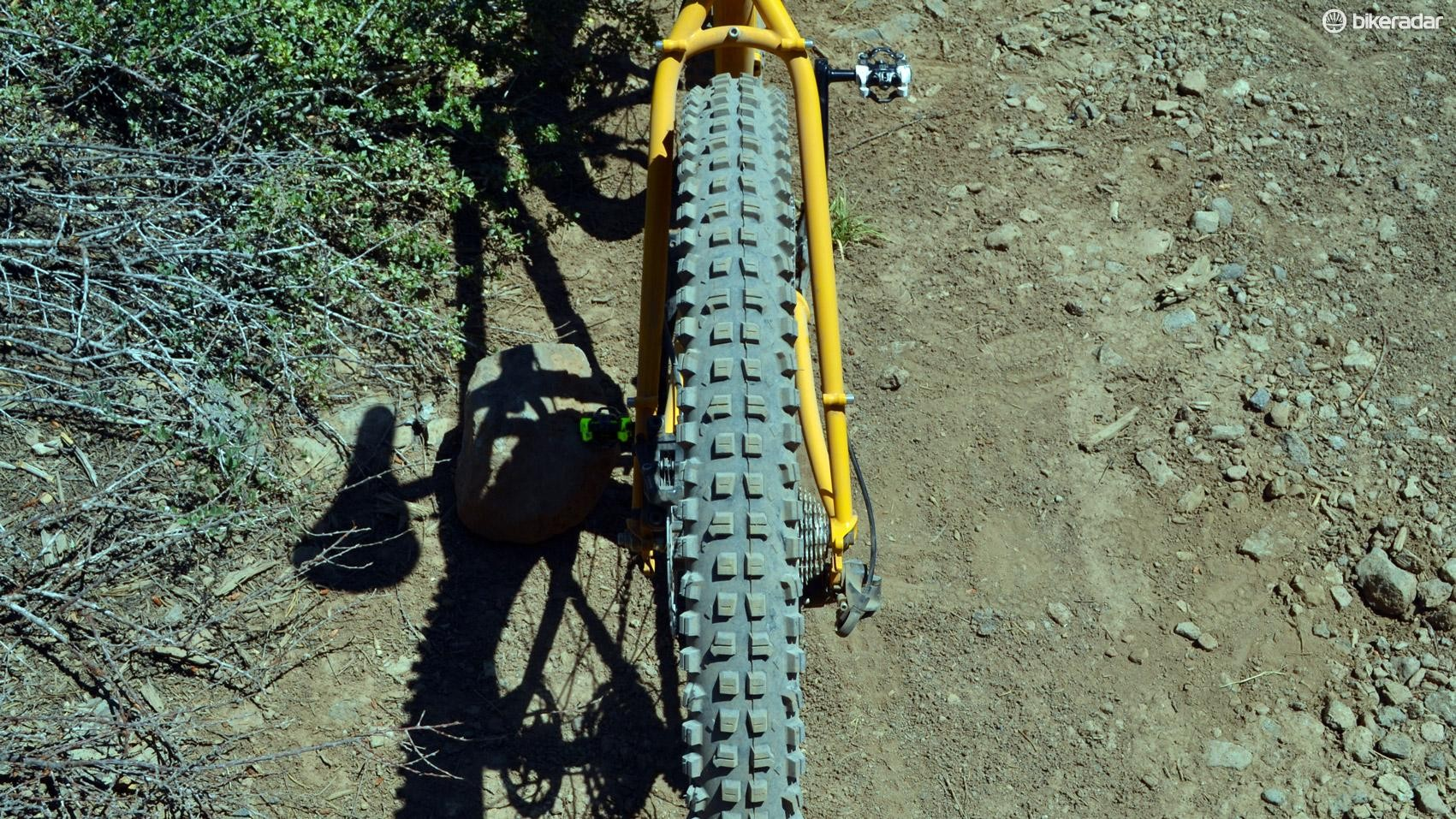 Big knobbies, a proper sidewall and soft rubber should create huge plus-size traction
