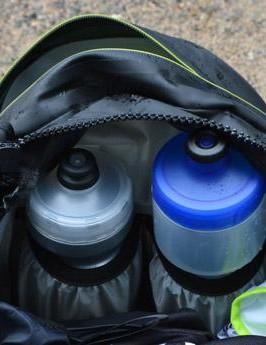Water bottle storage is built in