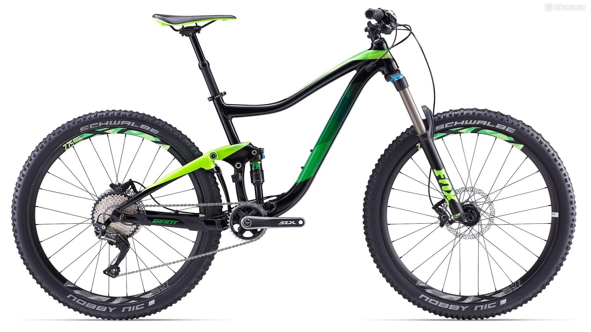 """The Trance is highlighted by an ALLUX SL alloy frame, 140/150mm Fox shocks, and 27. 5"""" hoops"""