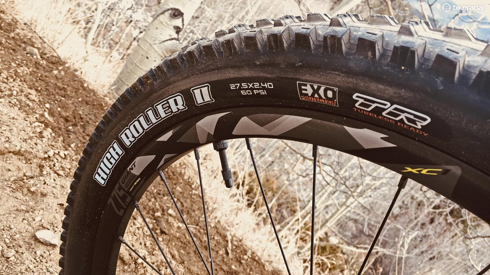 The 2.4in Maxxis High Roller II tires front and rear are a rowdy trail spec
