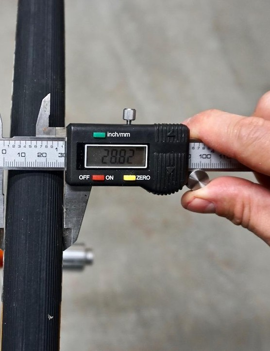 This used (already stretched) 25mm Vittoria Corsa measures in at 28.8mm