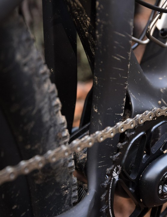 No front derailleur here. The Blur is 1x specific