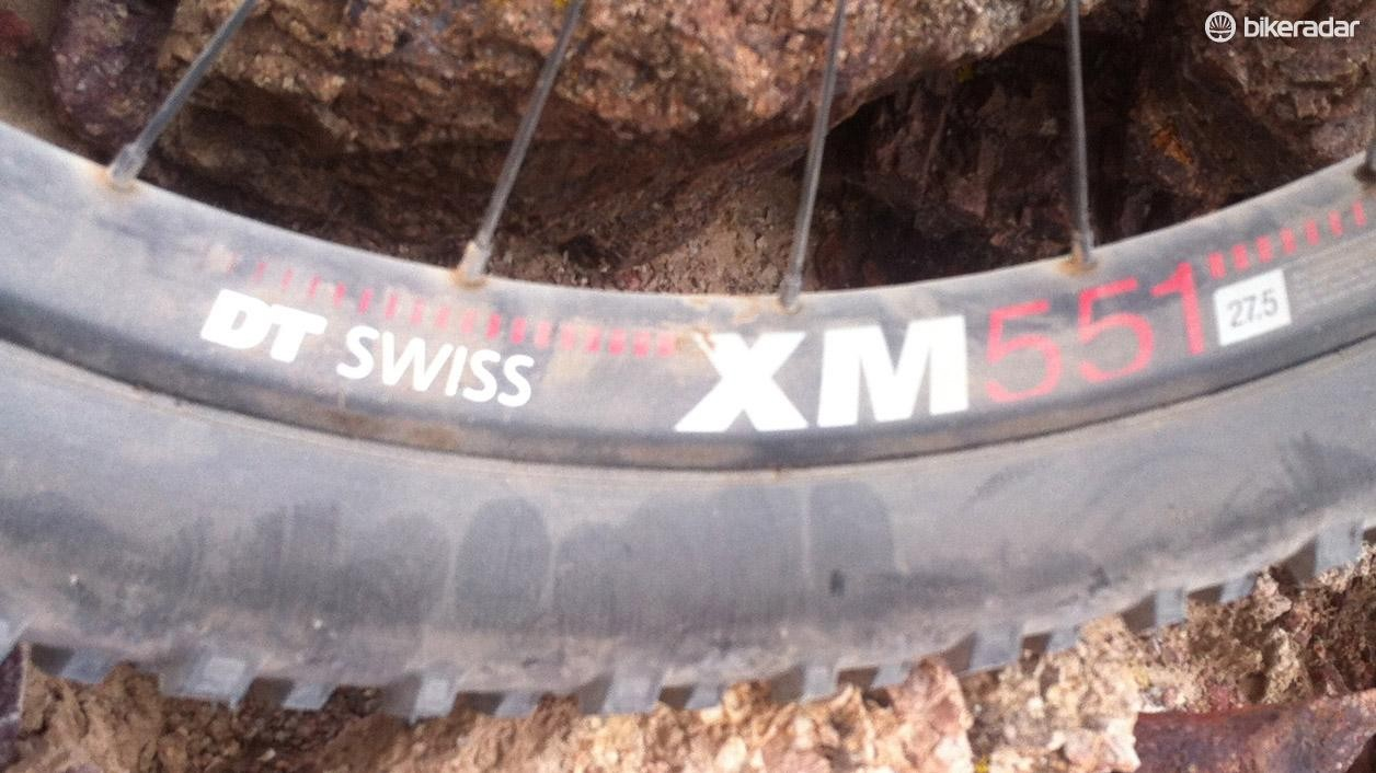 Wide DT Swiss XM551 rims help spread the Schwalbe Nobby Nic rubber