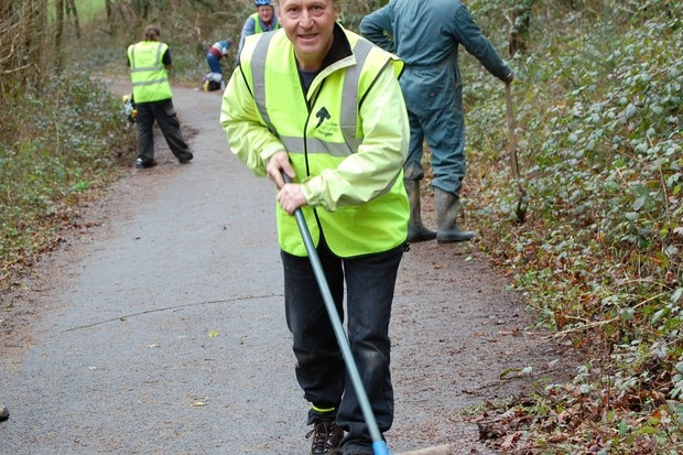 A Sustrans volunteer ranger gets stuck in