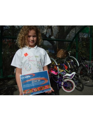 Olivia in her winning T-shirt design for Sustrans