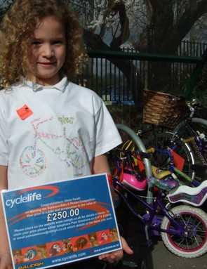 Olivia in her winning T-shirt design for Sustrans