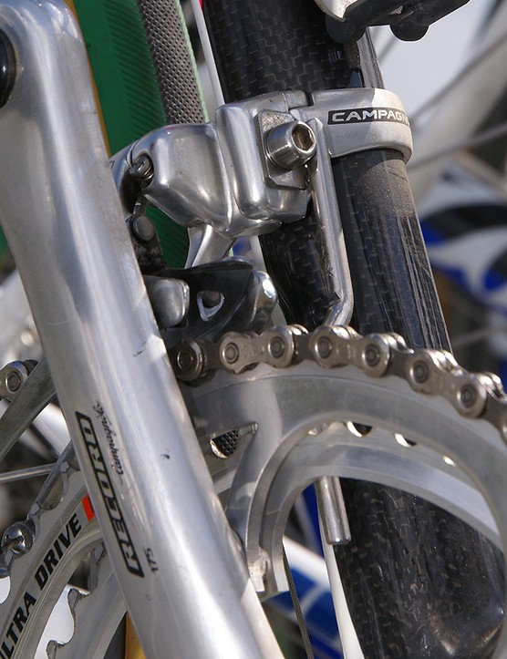 The spare bike's front derailleur includes a custom chain watcher.